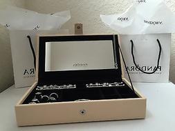 100% Authentic Pandora Leather Jewelry Box w/ Mirror, and 2