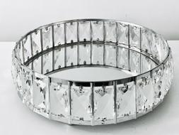 """12"""" Silver Mirrored Cosmetic Tray Crystal Shining Jewelry"""