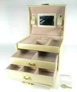 2/3 Layer Pu Leather Jewelry Box 2 Drawer Princess Jewelry C