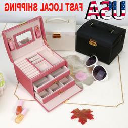 2/3 Layer PU Leather Jewelry Box Travel Case Display Storage