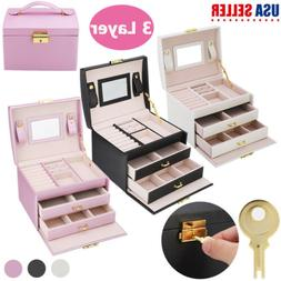 2/3 Tier Jewelry Box Organizer Case Ring Necklace Mirror Sto