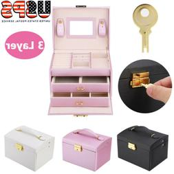 2/3Tiers Jewelry Box Storage Case Ring Earring Necklace Mirr