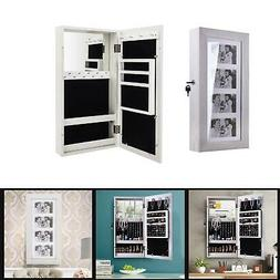 """24"""" Lockable Wall Mount Mirrored Jewelry Cabinet Organizer A"""