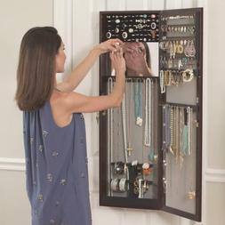 """42"""" Mirror Over the Door Jewelry Armoire Jewelry Box Storage"""