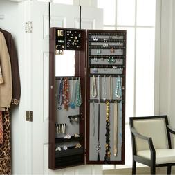 """48"""" Mirror Over the Door Jewelry Armoire Jewelry Box Storage"""