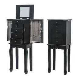 5 Drawers Jewelry Cabinet w/Drawers&Mirror Armoire Storage S