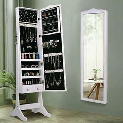 "63"" Standing Mirror Jewelry Cabinet Armoire Organizers Dress"