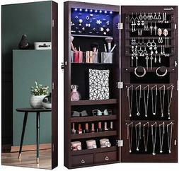 Nicetree 8 LED Mirror Jewelry Cabinet Jewelry Armoire Organi