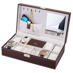 8 Slot Jewelry Box Men/Women Watch Rings Necklace Case Holde