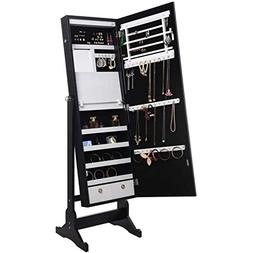 Posh Living Abigail Black Full Length Jewelry Cheval Armoire