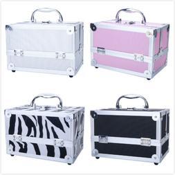 Aluminum Portable Makeup Train Case Jewelry Box Cosmetic Org