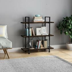 3-Tier Bookcase Metal Shelf Rack Bookshelf Kitchen Home Stor