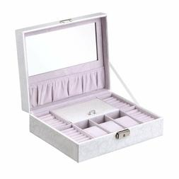 B.Catcher Jewelry Box Leather Storage Case with Lock and Mir
