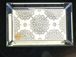 BEAUTIFUL NICOLE MILLER MIRROR VANITY JEWELRY TRAY GLITTER B