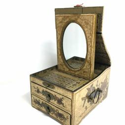Beautiful Oriental Jewelry Mirror Keepsake Wooden Box Decora