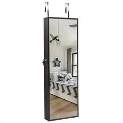 Beauty Wall Door Mounted Mirror Jewelry Cabinet Armoire Orga