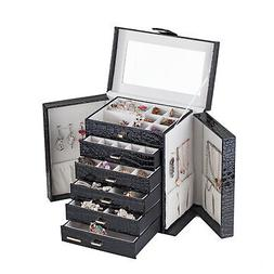 Black Large Jewelry Box Rings Cabinet Necklace Organizer Sto