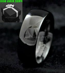 Black Mirror Finish Tungsten Carbide Ring Men's Wedding Enga