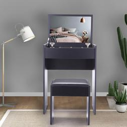 Black Vanity Dressing Table Stool Mirror Jewelry Cabinet for