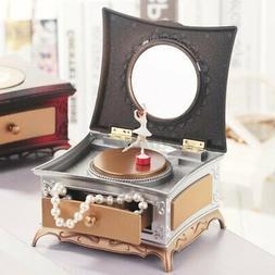 Classical Rotating Music Box Jewelry Storage w/Makeup Mirror