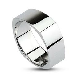 CLASSY MENS WOMENS STAINLESS STEEL SILVER MIRROR POLISHED SQ