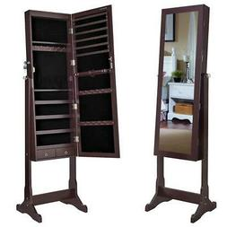 Convenient Lockable Mirror Jewelry Cabinet Armoire Organizer