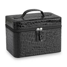 """Jaclyn Smith Croc PVC Travel Jewelry Box Black 8.5"""" x 6"""" w/"""