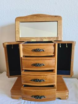 CROFT & BARROW Oak Jewelry Box Armoire Wood 4-Drawer 2-Door
