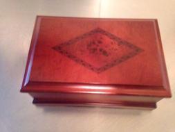 CROFT&BARROW WOOD WOODEN JEWELRY STORAGE BOX HINGED LID MIRR