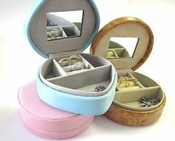 Cute Jewellery Box Vanity-Compartments-Mirror-Travel-Gift-Bi