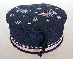 Denim Mirror Jewelry Box Butterfly Embroidery Earrings Neckl