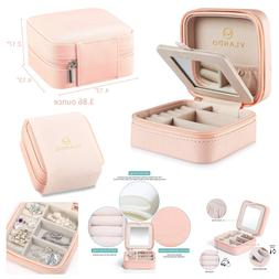 Vlando Macaron Small Jewelry Box, Travel Storage Case for Ri