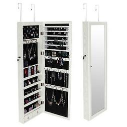 Door/Wall Mounted Mirror Jewelry Cabinet Armoire Storage Box