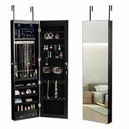 Door Mounted Jewelry Cabinet Utility Sundries Organizer Mirr