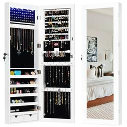 Door Mounted Lockable Mirrored Jewelry Cabinet with LED Ligh