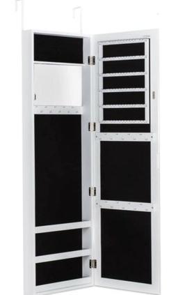 Door Wall Hang Mirrored Lockable Jewelry Cabinet Organizer W
