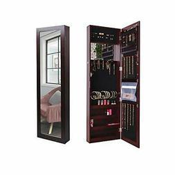 Door/Wall Mounted Full Length Mirror Jewelry Cabinet & Organ