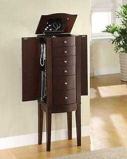 Jewelry Armoire Cabinet Wood With Mirror Drawers Brown Stand