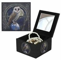 Ebros Witching Hour Owl Spell Keeper Decorative Jewelry Mirr