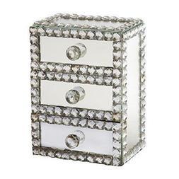Elegance Silver Mirror 3 Drawer Jewelry Box NEW