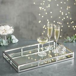 Elegant Mirrored Vanity Tray with Chrome Rails,Jewelry Tray,