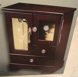 ESPRESSO WOODEN JEWELRY BOX, 2 DRAWER, ETCHED GLASS, NECKLAC