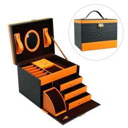 Faux Leather Jewelry Box Treasure Storage Organizer Case Dra