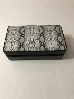 Faux Snakeskin style Travel Jewelry Case with mirror  Black