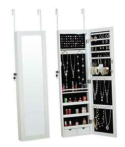 Fineboard LED Wall Mounted Jewelry Cabinet with Mirror and 2