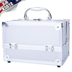 Foldable Aluminum Makeup Train Case Jewelry Box Cosmetic Org