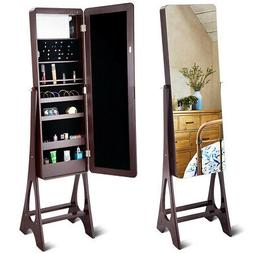 Free Standing Jewelry Cabinet - Full Length Mirror - LED Lig