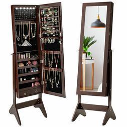 Freestanding Jewelry Cabinet Storage Organizer Box Mirrored