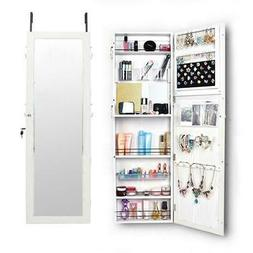 Full Length Dressing Mirror Jewelry Cabinet Armoire Wall Mou