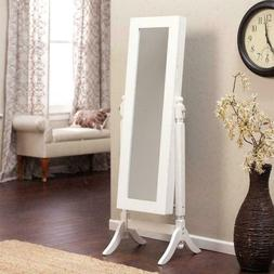 White Full Length Tilting Cheval Style Floor Mirror with Jew